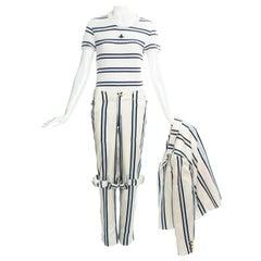 Vivienne Westwood unisex striped cotton bondage 3 piece pant suit, ss 1994
