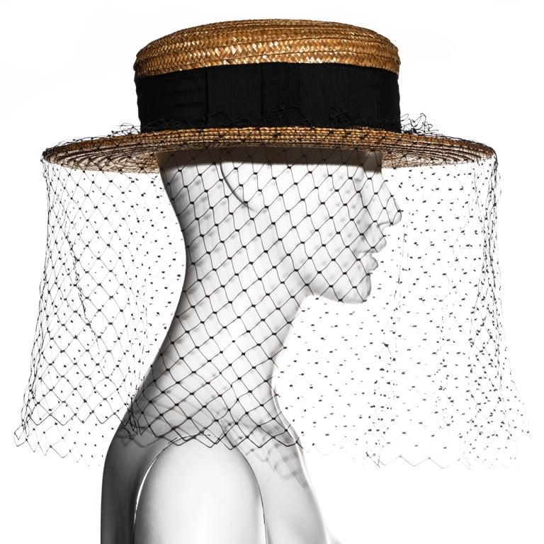 Vivienne Westwood veiled raffia boater hat, ss 1988 For Sale 5