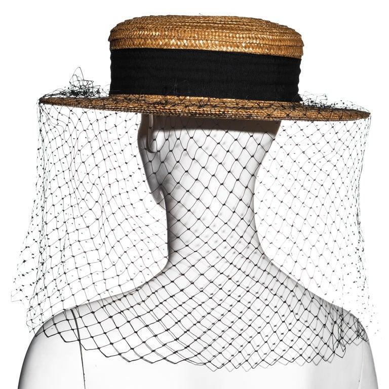 Vivienne Westwood veiled raffia boater hat, ss 1988 For Sale 6