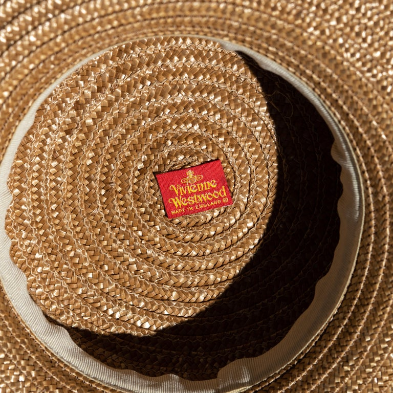 Vivienne Westwood veiled raffia boater hat, ss 1988 For Sale 7