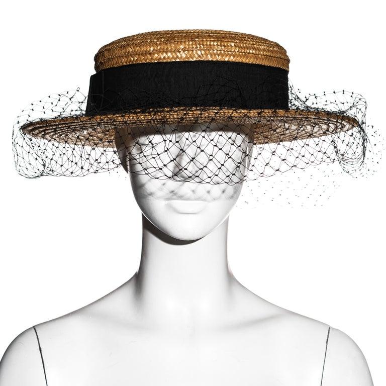 Brown Vivienne Westwood veiled raffia boater hat, ss 1988 For Sale