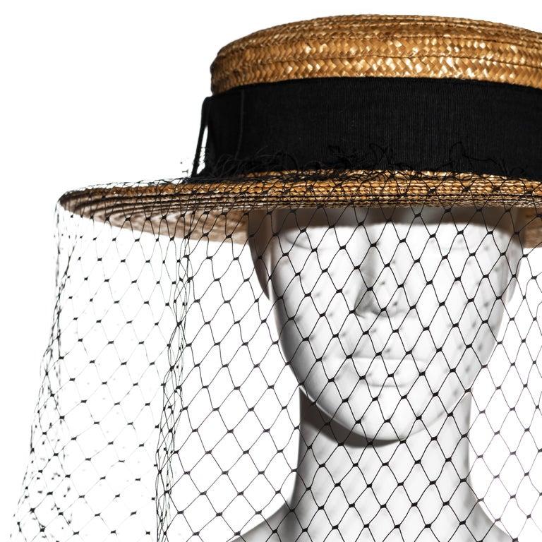 Vivienne Westwood veiled raffia boater hat, ss 1988 For Sale 1