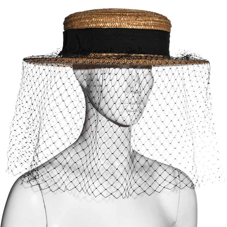Vivienne Westwood veiled raffia boater hat, ss 1988 For Sale 3