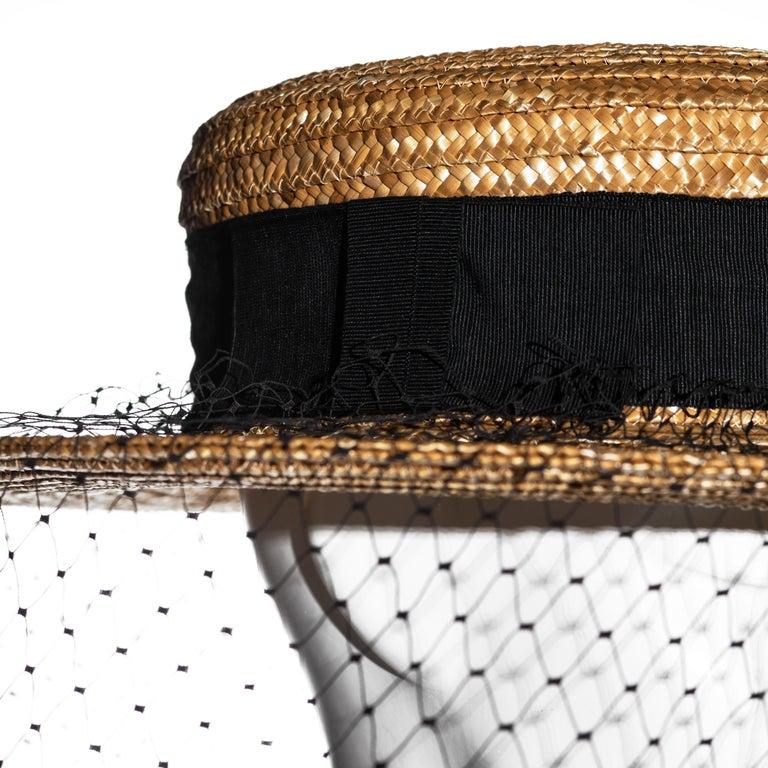 Vivienne Westwood veiled raffia boater hat, ss 1988 For Sale 4