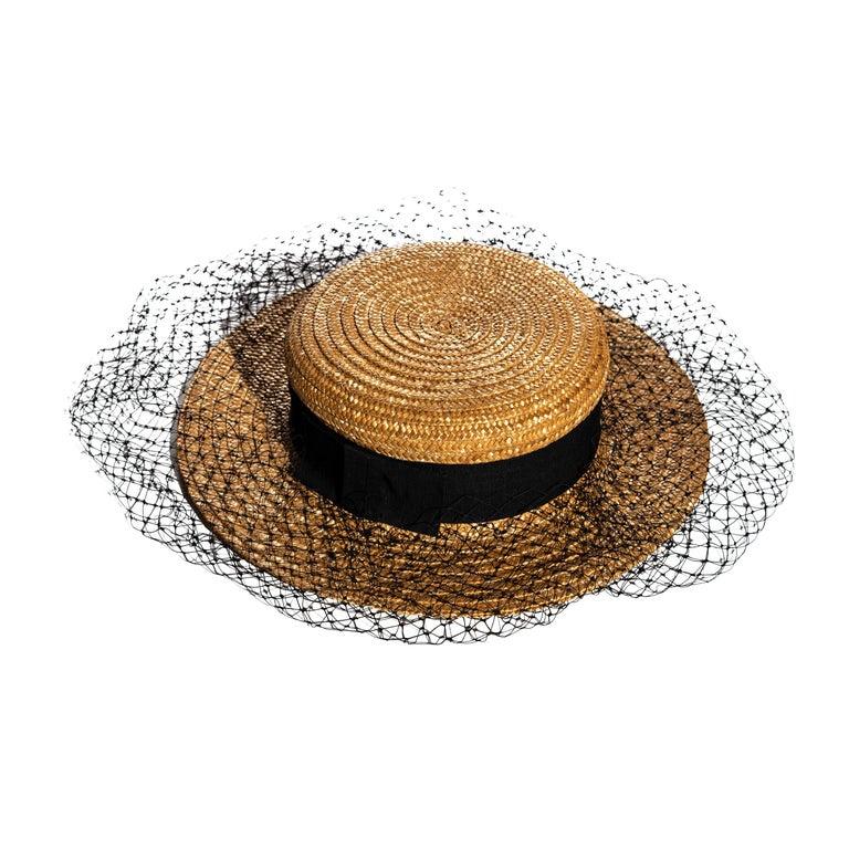 Vivienne Westwood veiled raffia boater hat, ss 1988 For Sale