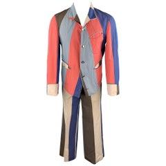 VIVIENNE WESTWOOD Vintage Size 40 Pink & Blue Striped Silke Blend Wide Leg Suit
