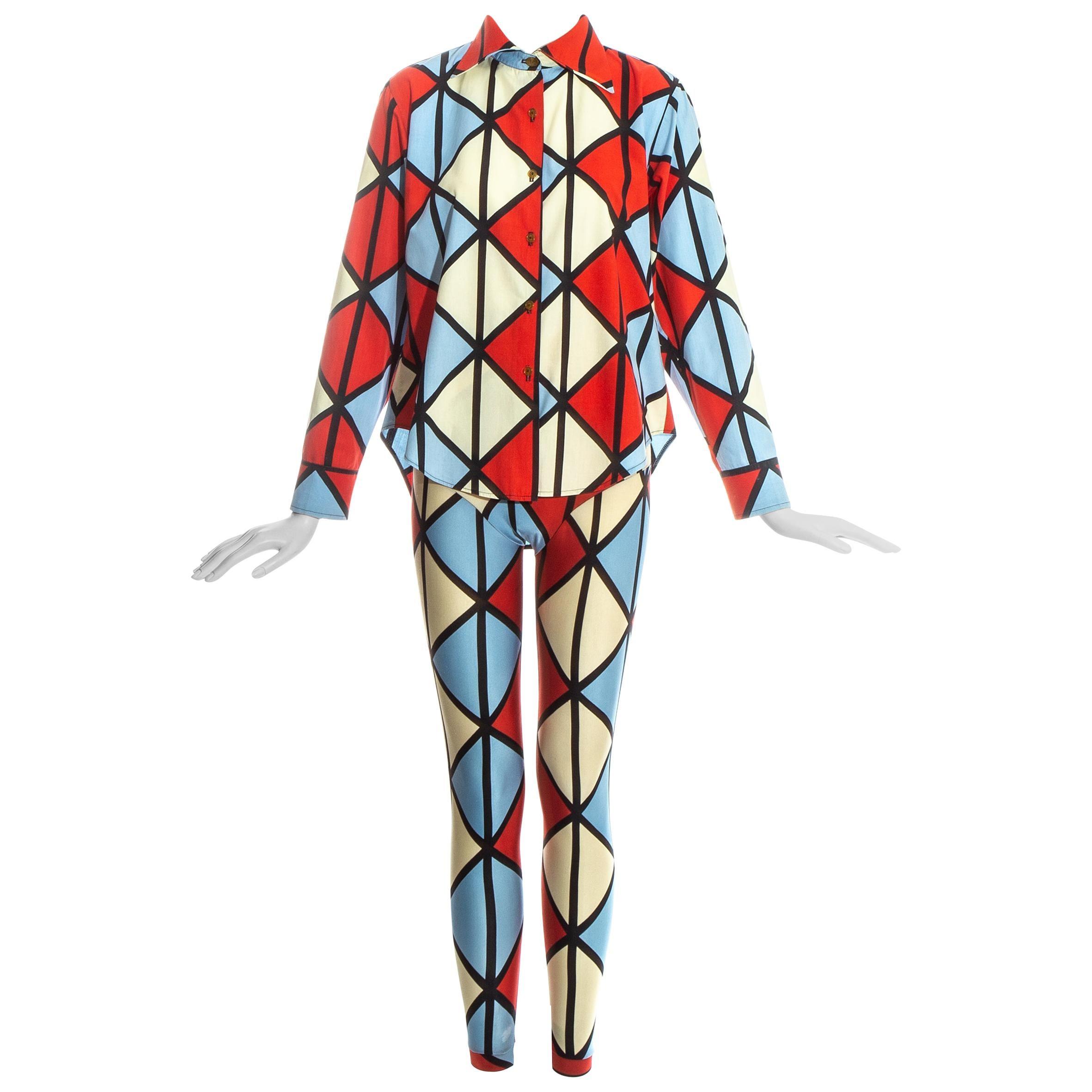Vivienne Westwood 'Voyage to Cythera' harlequin leggings and shirt set, fw 1989