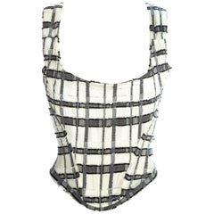Vivienne Westwood white and grey checked corset, ss 1994