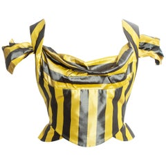 Vivienne Westwood yellow and grey striped silk corset, ss 1998