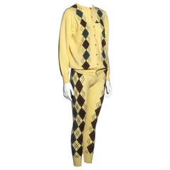 Vivienne Westwood yellow argyle knitted leggings and cardigan set, fw 1989