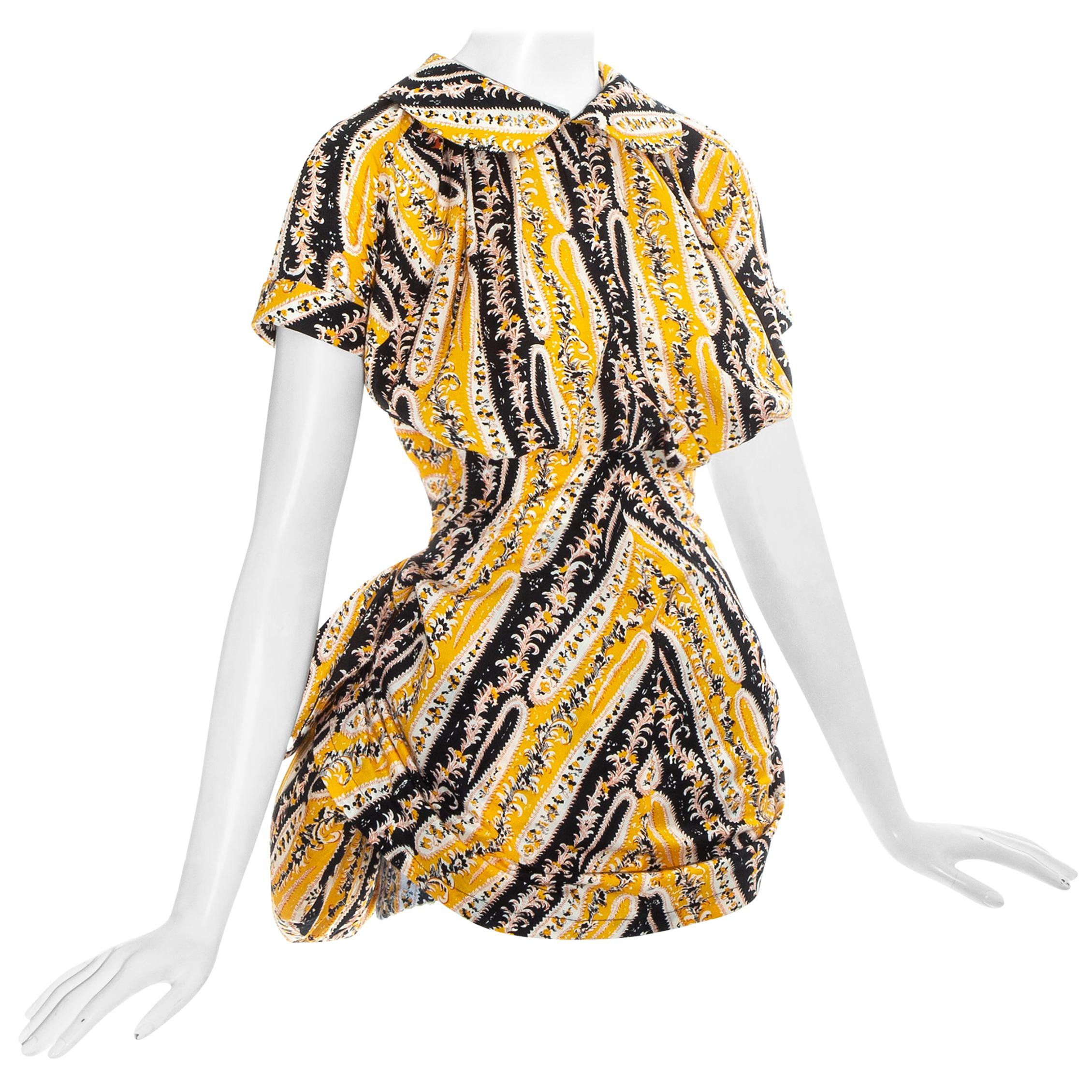 Vivienne Westwood yellow printed cotton mini dress with bustle, ss 1995