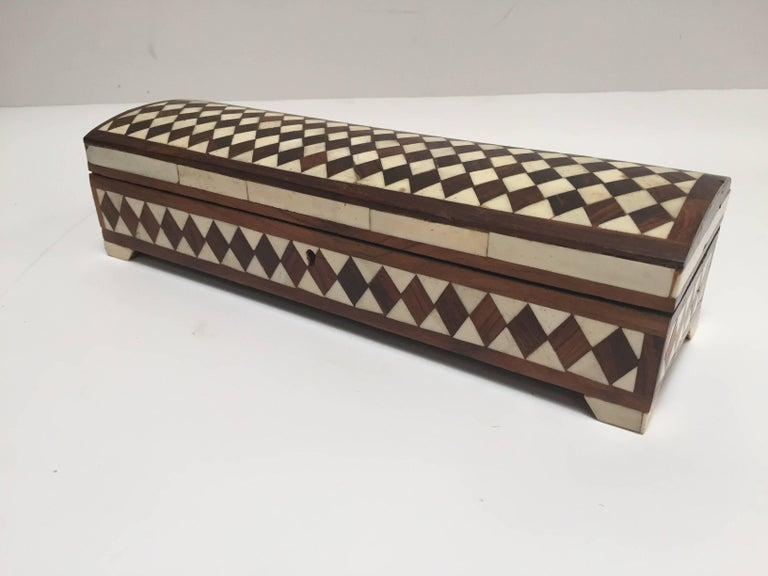 Inlay Vizagapatam Anglo-Indian Rectangular Box Inlaid with Bone and Sandalwood For Sale