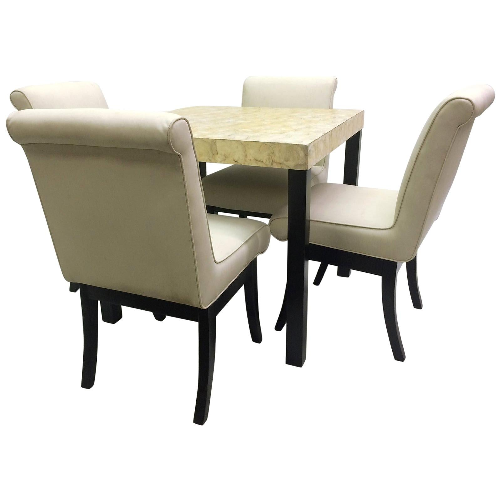 VKG Dining or Game Set with Abalone Top Table and Four Chairs