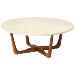 Vladimir Kagan 5301 Coffee Table with Travertine Top & Natural Walnut Legs