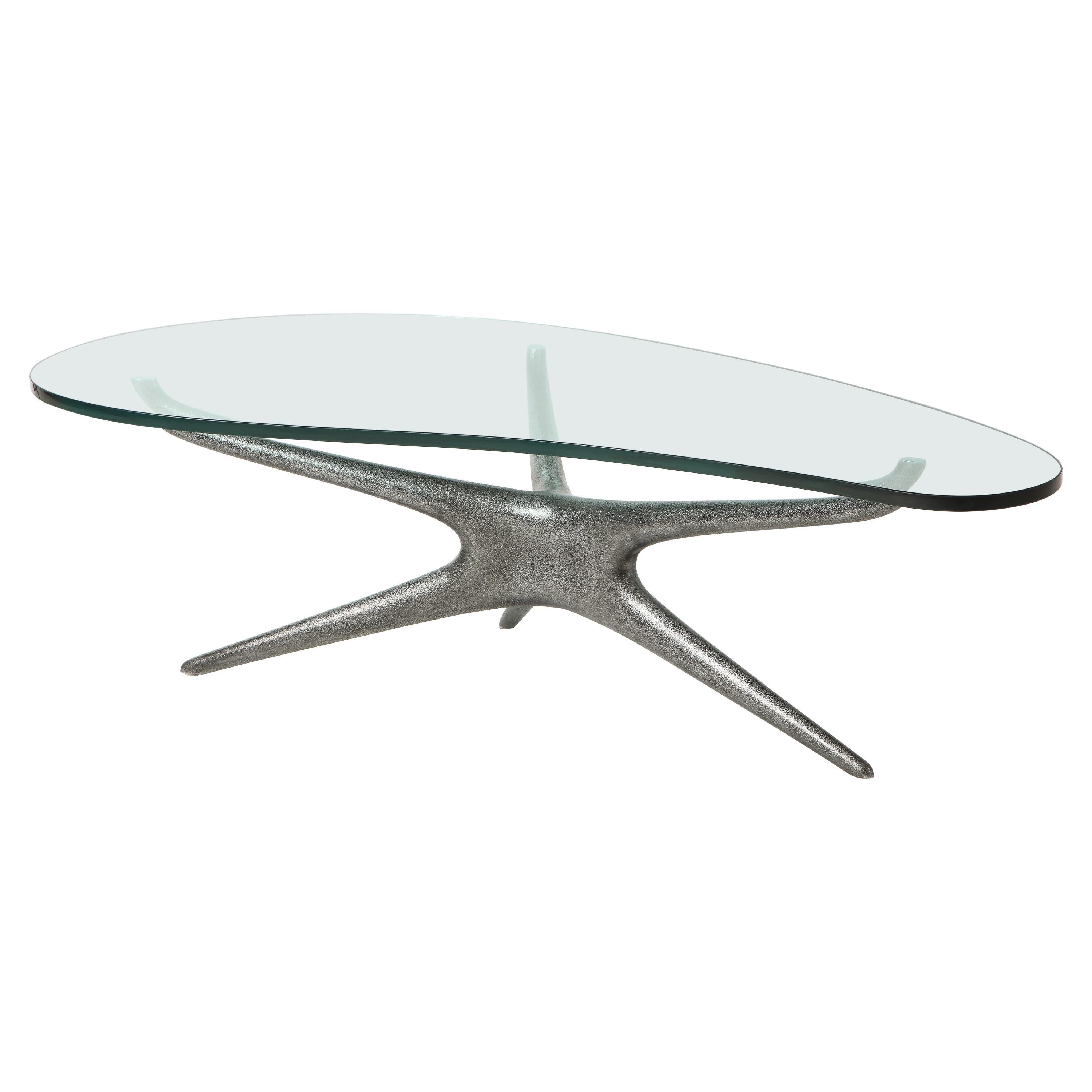 Vladimir Kagan Cast Aluminum 412 Sculpted Coffee Table with Clear Glass Top