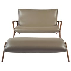Vladimir Kagan Contour Loveseat and Footstool in Tan Leather with Natural Walnut