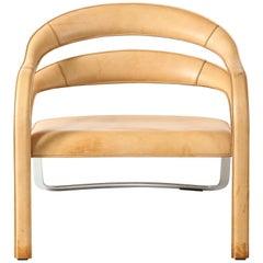 Vladimir Kagan Fettucini Lounge Chair in Sienna Leather Seat with Metal Base
