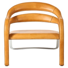 Vladimir Kagan Fettucini Lounge Chair in Sienna Leather with Metal Base