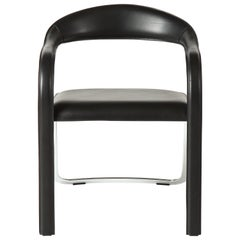 Vladimir Kagan Fettucini Single Back Chair in Black Leather with Metal Base