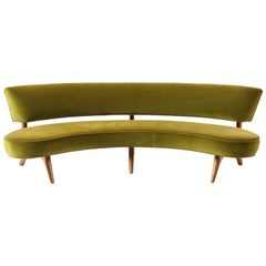 Vladimir Kagan Floating Curved Sofa with Olive Upholstery & Natural Walnut Base