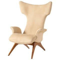 Vladimir Kagan Ondine Chair with Sueded Leather Upholstery & Natural Walnut Base