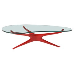 Vladimir Kagan 412 Sculpted Coffee Table with Clear Glass Top & Red Lacquer Base