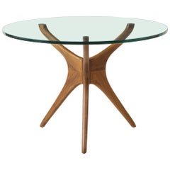 Vladimir Kagan Sculpted Large Dining Table with Glass Top & Natural Walnut Base