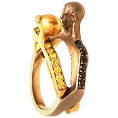 Vladamir Kush Always Together 18 Karat Yellow and Black Diamond Ring