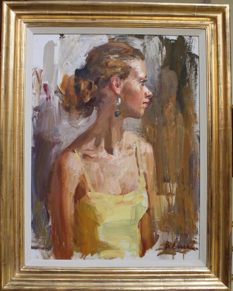 PORTRAIT OF A GIRL IN A YELLOW DRESS..Vladimir Ezhakov contemporary Russian  - Impressionist Painting by Vladimir Ezhakov