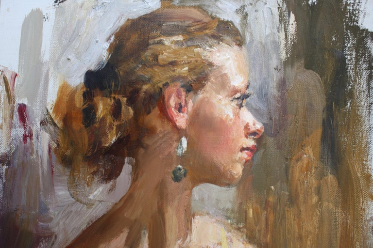 PORTRAIT OF A GIRL IN A YELLOW DRESS..Vladimir Ezhakov contemporary Russian  - Yellow Portrait Painting by Vladimir Ezhakov