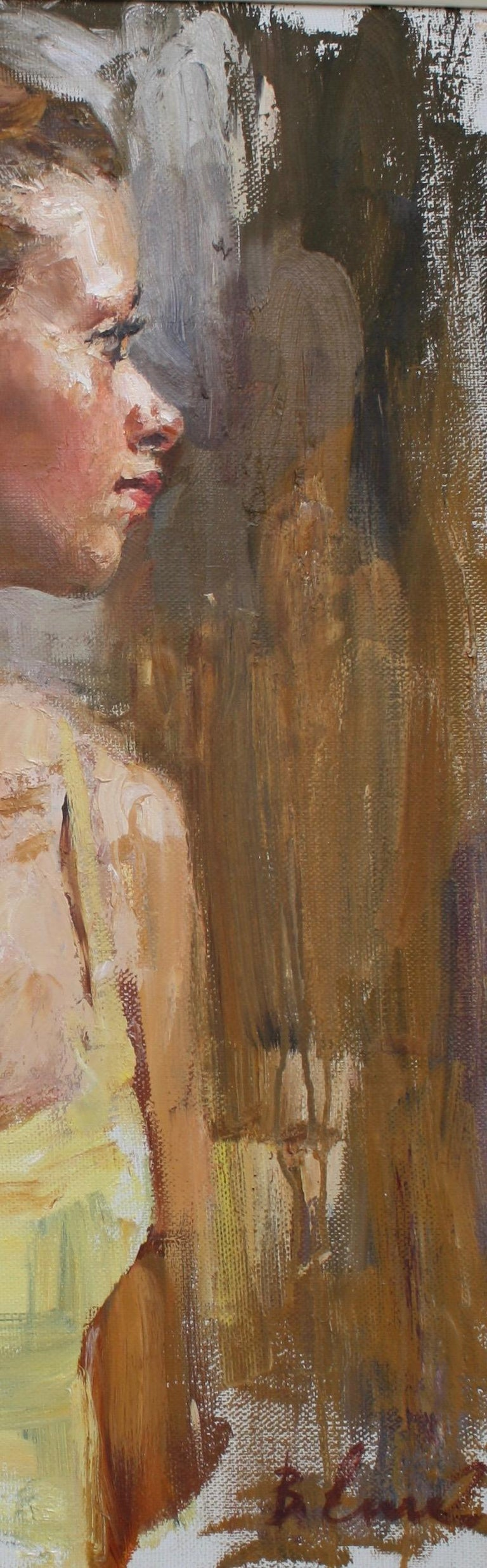 PORTRAIT OF A GIRL IN A YELLOW DRESS..Vladimir Ezhakov contemporary Russian  For Sale 1