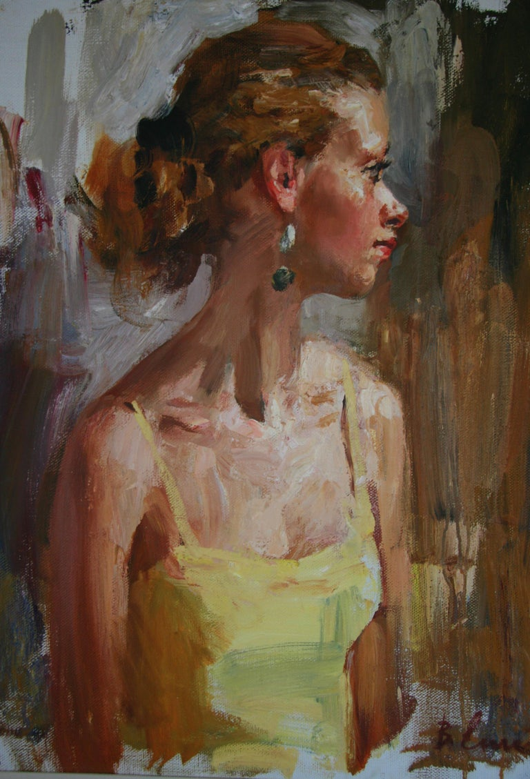 PORTRAIT OF A GIRL IN A YELLOW DRESS..Vladimir Ezhakov contemporary Russian  For Sale 3