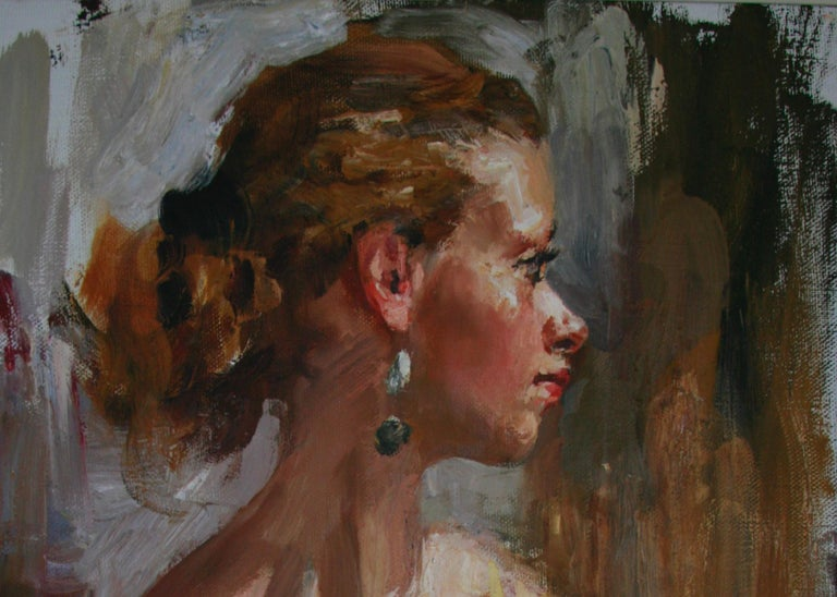 PORTRAIT OF A GIRL IN A YELLOW DRESS..Vladimir Ezhakov contemporary Russian  For Sale 4