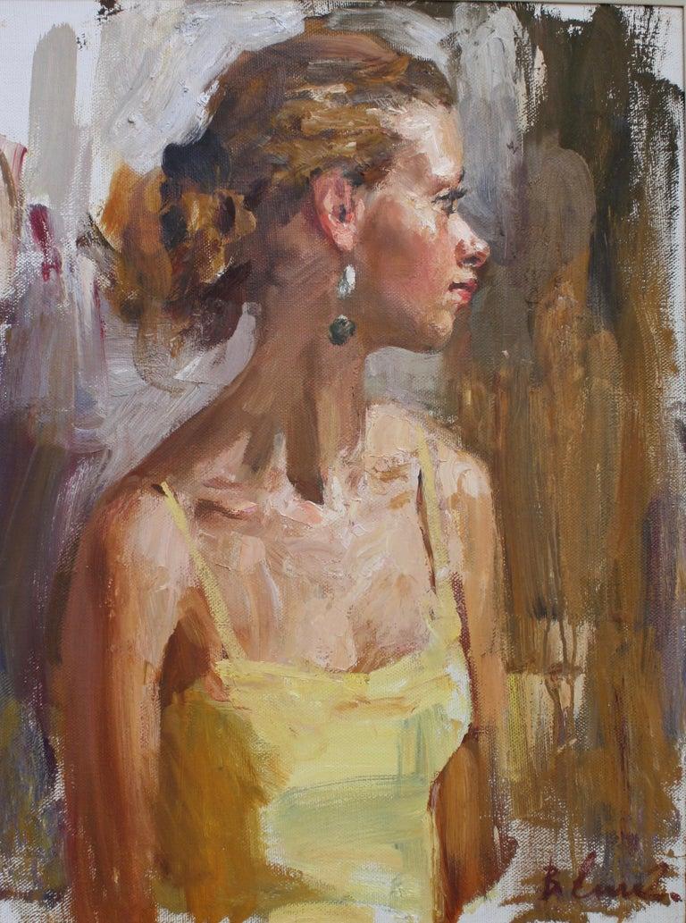 PORTRAIT OF A GIRL IN A YELLOW DRESS..Vladimir Ezhakov contemporary Russian  - Painting by Vladimir Ezhakov