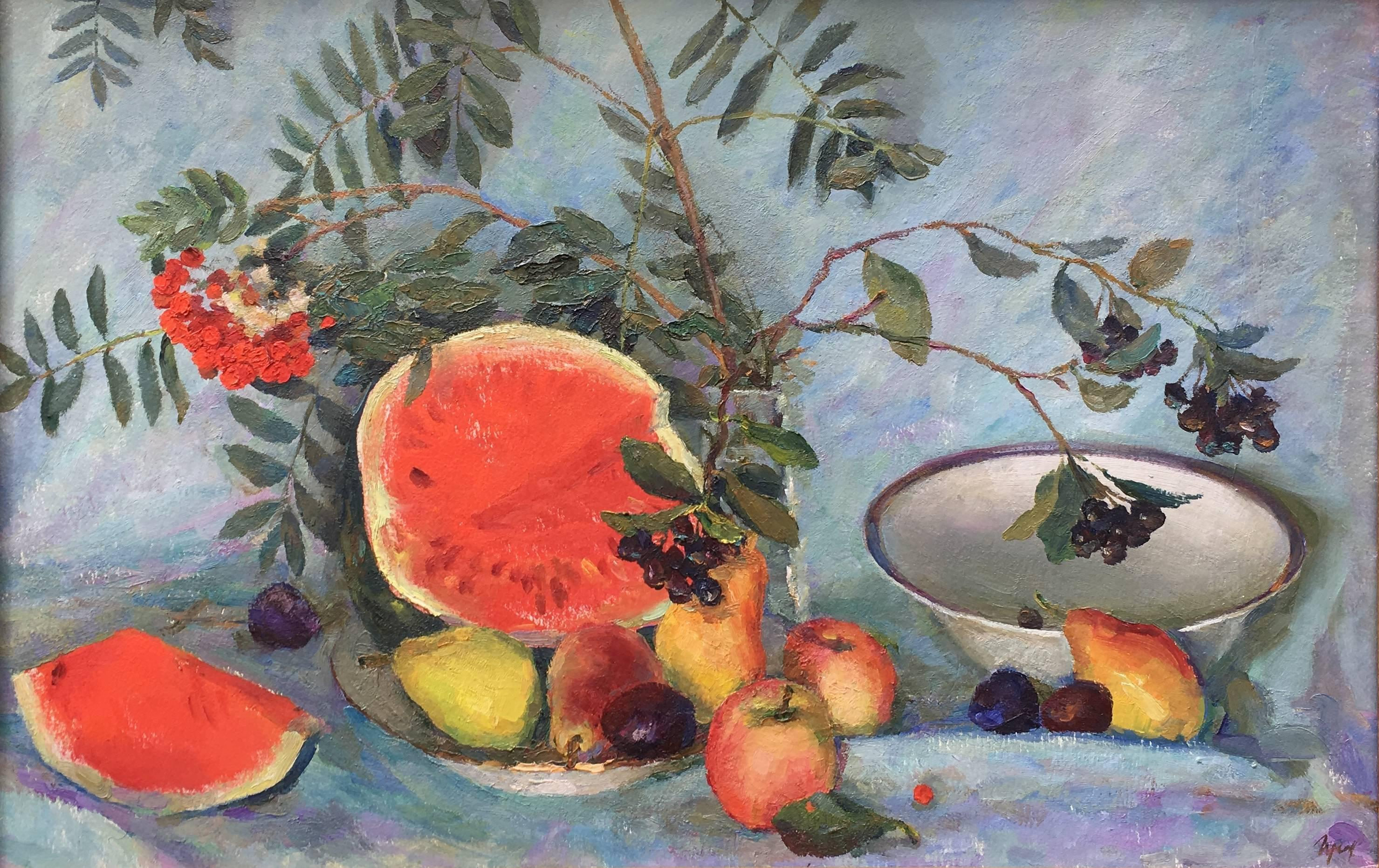 Still life with watermelon, oil on panel, post-impressionist style