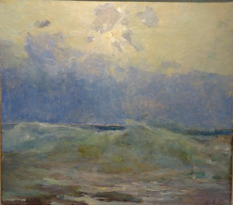 Sea, Waves  Oil  cm. 64 x 54 Light blue,Offer Free Shipping - Painting by Vladimir Joukov