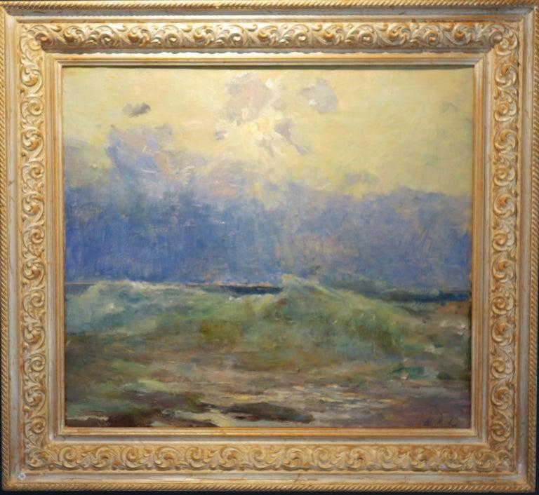 Vladimir Joukov Figurative Painting - Sea, Waves  Oil  cm. 64 x 54 Light blue,Offer Free Shipping