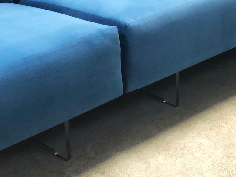 Upholstery Vladimir Kagan 3-Piece Omnibus Sofa Lucite Bases, 1970s For Sale