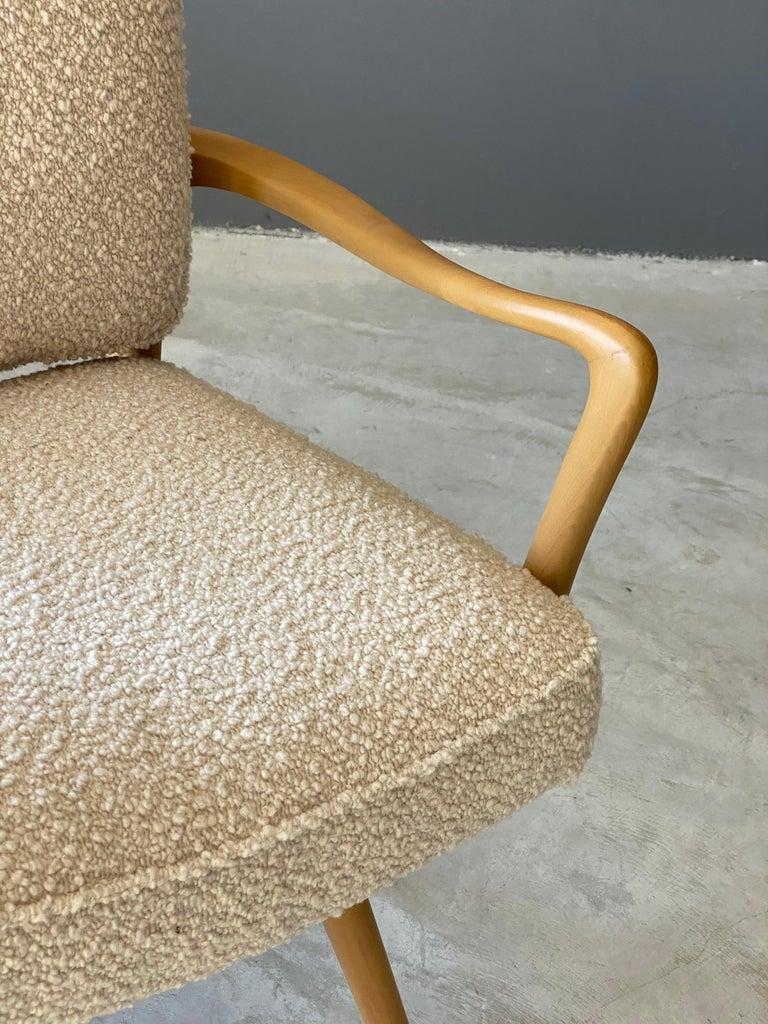 Vladimir Kagan, Armchair / Desk Chair, Wood, White Boucle, Kagan-Dreyfus, 1960s In Good Condition For Sale In West Palm Beach, FL