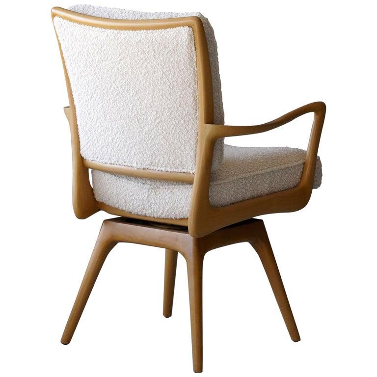Vladimir Kagan, Armchair / Desk Chair, Wood, White Boucle, Kagan-Dreyfus, 1960s For Sale