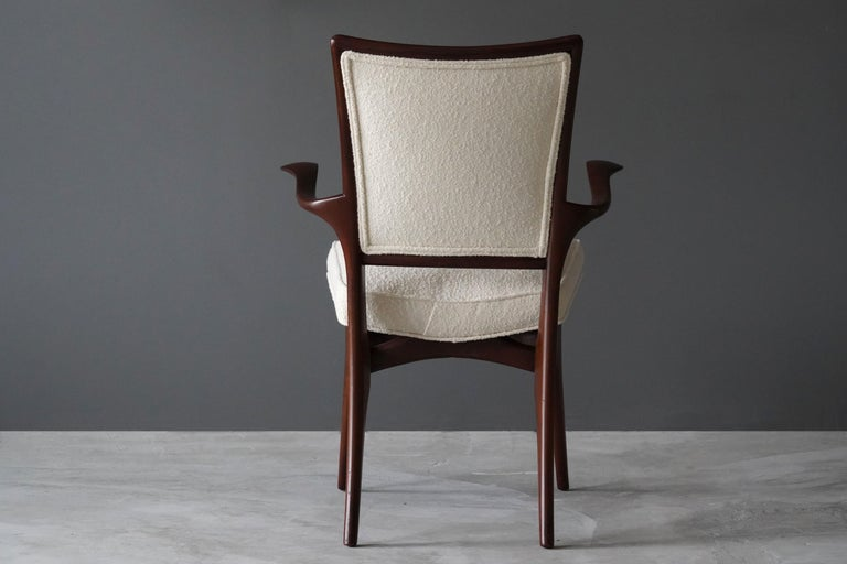 Mid-Century Modern Vladimir Kagan, Armchair / Side Chair, Walnut, White Boucle, Kagan-Dreyfus 1960s For Sale