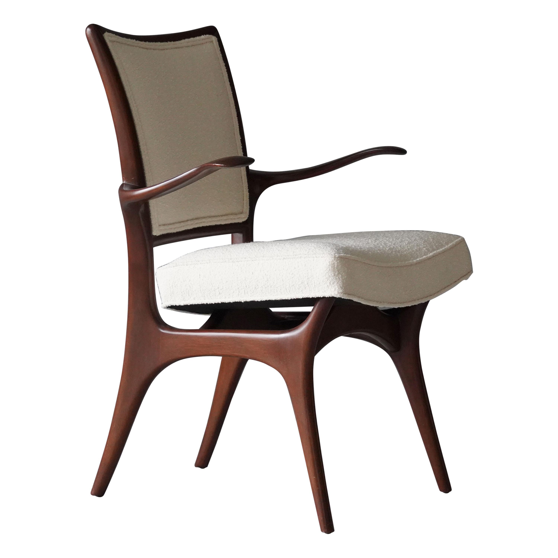 Vladimir Kagan, Armchair / Side Chair, Walnut, White Boucle, Kagan-Dreyfus 1960s