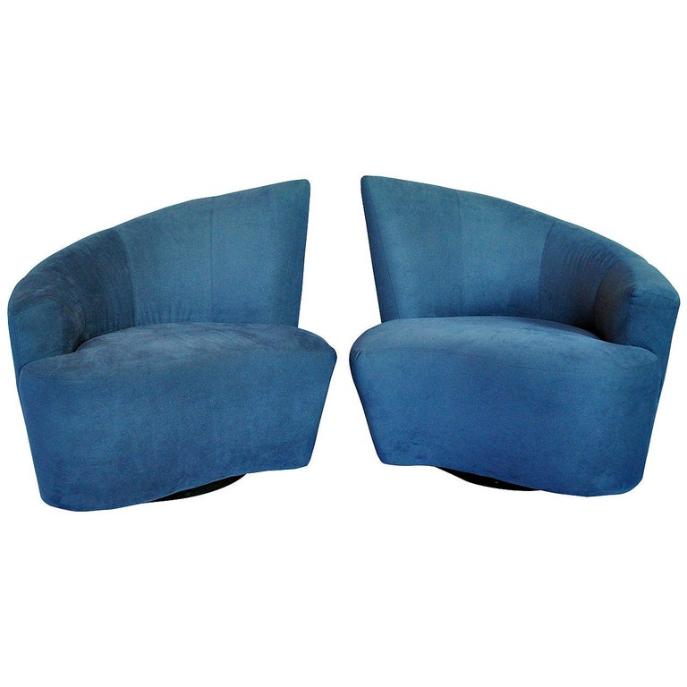Vladimir Kagan Bilbao Swivel Lounge Chairs for Weiman Preview, Pair For Sale