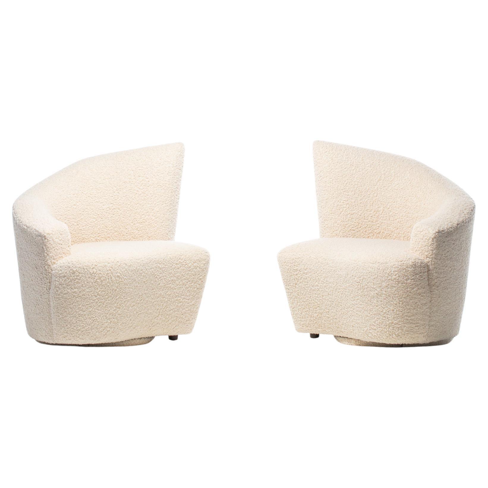 Vladimir Kagan Bilbao Swivel Slipper Chairs in Ivory Bouclé