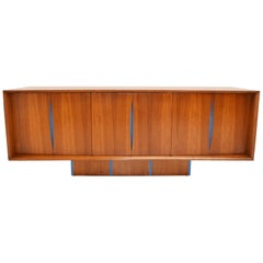 Vladimir Kagan Bow Front Credenza with Hutch Available