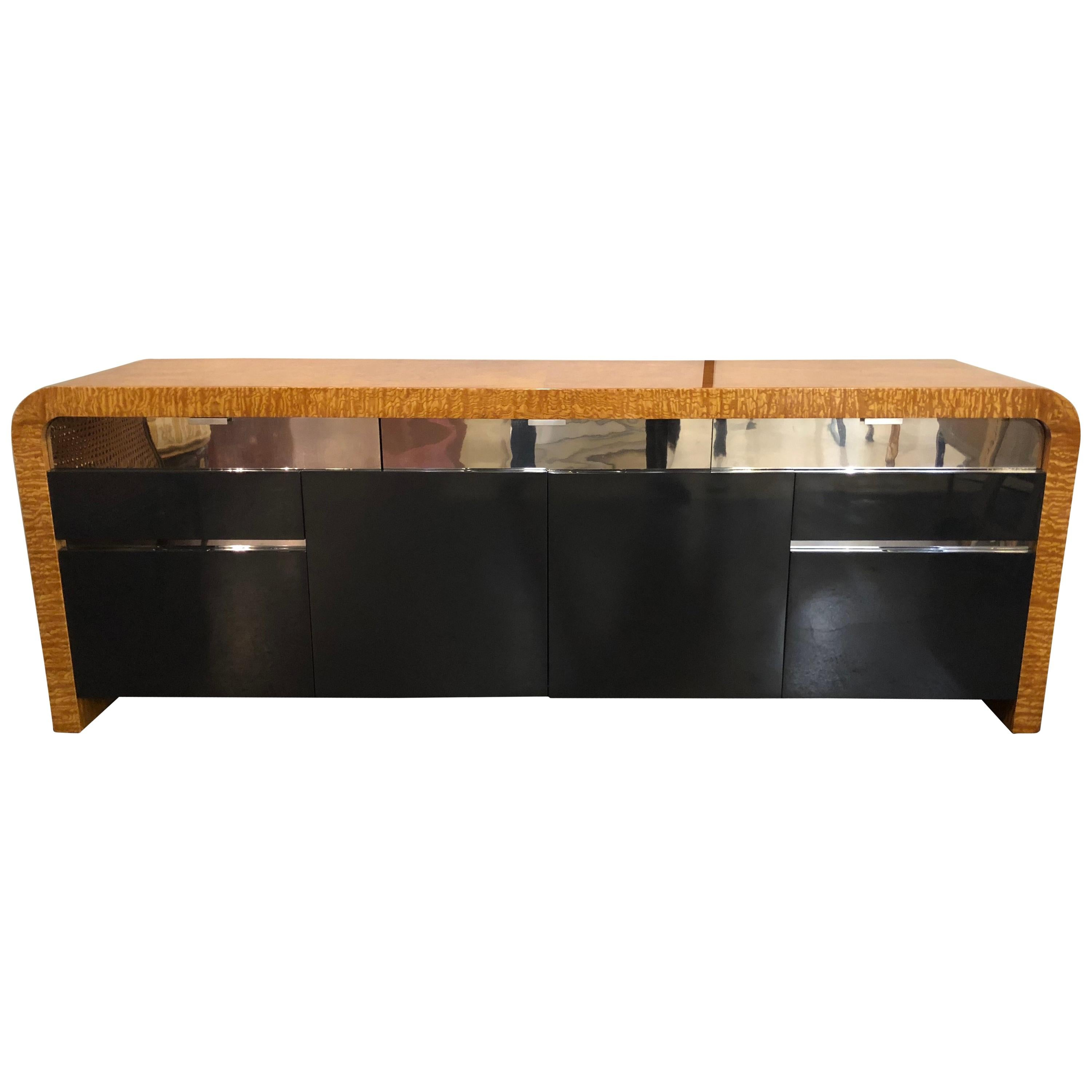 Vladimir Kagan Burl Wood and Lacquered Sideboard or Console with File Cabinets