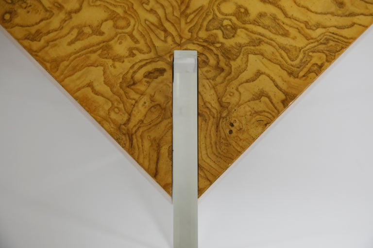 Vladimir Kagan Burled Wood and Lucite Coffee Table, circa 1970, Restored For Sale 10
