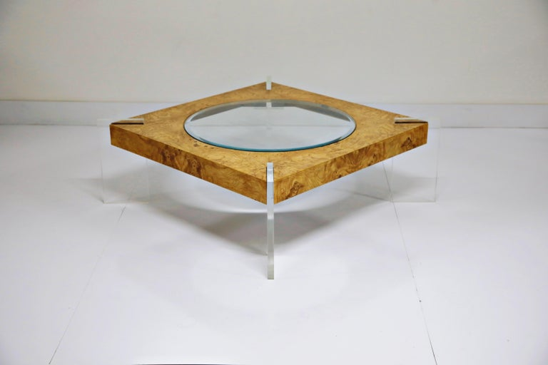 Glass Vladimir Kagan Burled Wood and Lucite Coffee Table, circa 1970, Restored For Sale