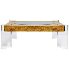 Vladimir Kagan Burled Wood and Lucite Coffee Table, circa 1970, Restored