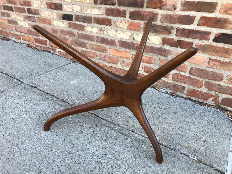 Vladimir Kagan Carved Walnut Trisymmetric Occasional Table In Good Condition For Sale In Hudson, NY